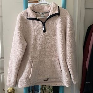 Pink Sherpa quarter zip jacket